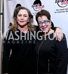 "Kathleen Turner, Molly Smith. Photo by Tony Powell. ""The Tallest Tree in the Forest"" Opening Night Dinner. January 16, 2014"