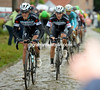 Michel Golas is leading Kwiatkowski on to the 4th section of cobbles in anticipation of the main move...