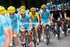 Astana's gathers at the head of the peloton with Vincenzo Nibali well protected...