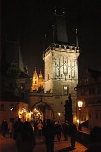 It was cold and late in the evening but the streets were full of people. This is around 10pm and St. Charles Bridge was very busy.