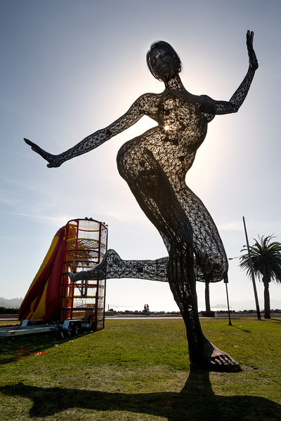 Bliss Dance sculpture by Marco Cochrane. She debuted at the 2010 Burning Man at Black Rock City in the Nevada desert. Dance Bliss started as a foot-long prototype on Treasure Island.