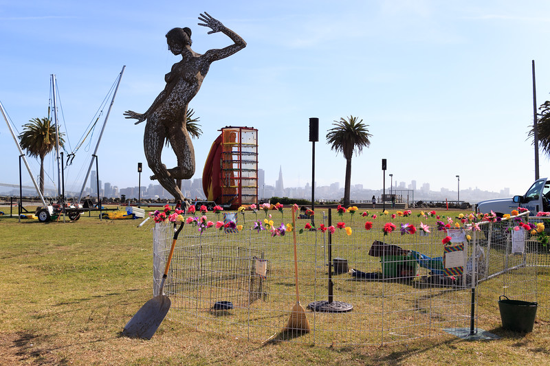 Bliss Dance at the Treasure Island Flea. In the foreground is a fenced course for the pony ride.