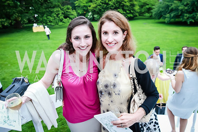 Leana Katz, Christine Harrison . Photo by Alfredo Flores. Tudor Place Garden Party. Tudor Place Historic House and Garden. May 21, 2014.