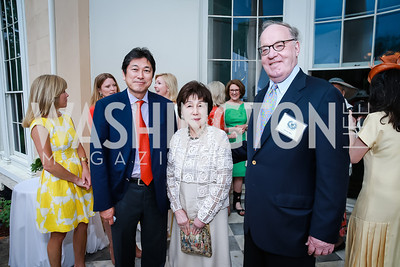 Ryuji Ueno, Toshiko Ueno, Timothy Matz. Photo by Alfredo Flores. Tudor Place Garden Party. Tudor Place Historic House and Garden. May 21, 2014.
