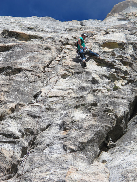 4/11/13 Left Ski Track on Taquitz. Super good climb. Probably the best 5.6 we have ever done. Amazing steep jug crack on pitch one, classy no hands traverse on P2 and more glory jugs on P3.