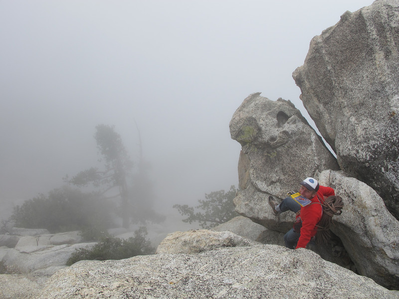 4/11/13 Guide book mouth crux descent from Taquitz in the clouds.