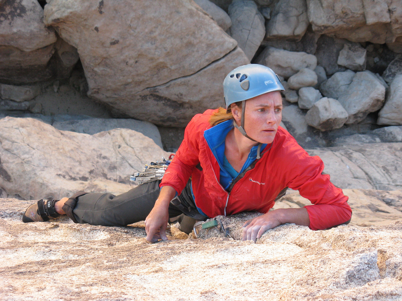 1/11/13 This was perhaps the best single pitch 5.9 of the trip and very tough for the grade, especially mentally. Committing climbing with only 3 bolts and long runouts to trad gear. Brilliant moves and the best quality rock Joshua Tree has.
