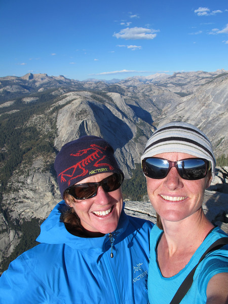 23/10/13 Kate and Claire on the summit of Half Dome, happy to have made it this far and it not be dark yet...
