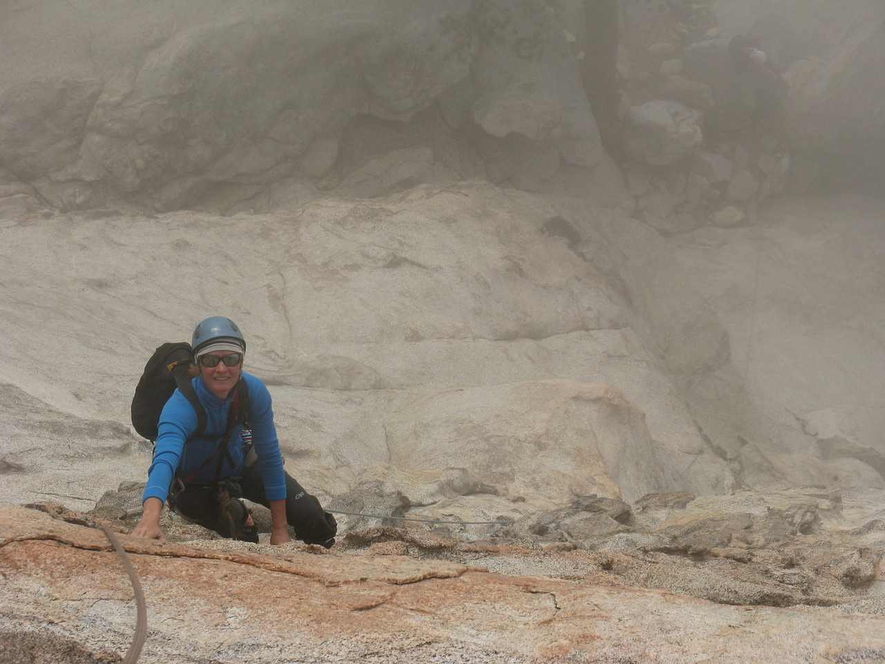 4/11/13 Kitty climbing through the mist to find her Neil on Taquitz