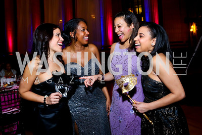 Tania Galarza, Danielle Conley, Rhonda Henderson, Brittani Ivey. Photo by Tony Powell. UNCF Masked Ball. Mellon Auditorium. March 27, 2014