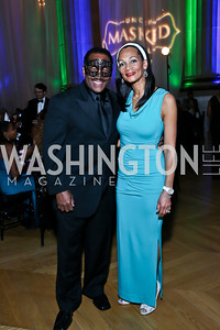Donnie and Pamela Simpson. Photo by Tony Powell. UNCF Masked Ball. Mellon Auditorium. March 27, 2014