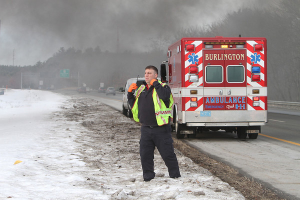 Van fire after collision on Rt 3 in Burlington - mng-low