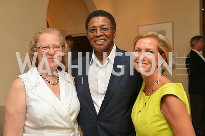 Carol Thompson Cole, Brig Owens, Eleanor Rutland,  A Celebration of Venture Philanthropy Partners at the home of Jack Davies and Kay Kendall, Wednesday June 18, 2014.  Photo by Ben Droz.