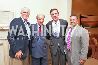 Jack Davies, Mario Marino, Senator Mark Warner, Raul Fernandez, A Celebration of Venture Philanthropy Partners at the home of Jack Davies and Kay Kendall, Wednesday June 18, 2014.  Photo by Ben Droz.