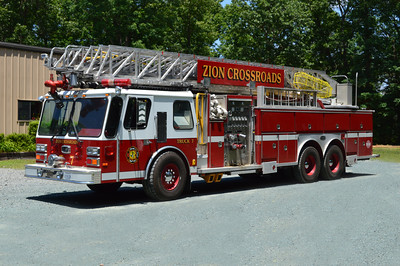 Zion Crossroads Fire and Rescue - Louisa County Station 7.  Truck 7 is this 1988 Emergency One, 1500/250, 110, sn- 6168.  ex-Rowlett, Texas ex- Frederick County, Virginia Truck 11 then Truck 13