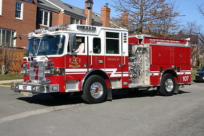 Arlington County Fire and Rescue - Fairlington Station 7.  Engine 107 is a 2009 Pierce Arrow XT, 1500/750/30, sn- 22530-01.