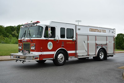 The Cherrydale VFD volunteers in Arlington, Virginia operate Support 103, a 2000 Spartan/Precision equipped with a 500/200/30B.  It was purchased from Garrettsville, Ohio in 2015 and is equipped with a 30kw generator and a Wilburt light tower.  Photographed in May of 2017 at the Apple Blossom firefighters day in Winchester, Virginia.