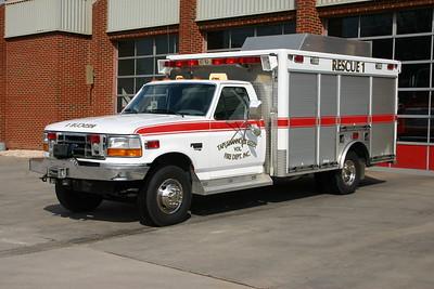 Rescue 1 is a 1997 Ford F Super Duty/Boardman.  ex - Ashland Rescue Squad (Hanover County, Virginia).