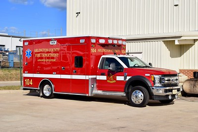 Arlington County's Medic 104, a 2017 Ford F-550/Road Rescue.  One of two similar units.