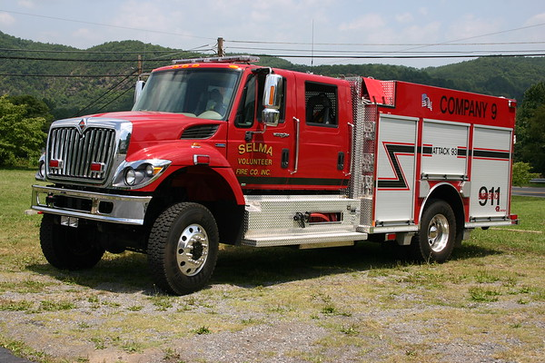 Attack 93 from Selma, Virginia is a 2007 International 7400/2008 Rosenbauer with a 1000/750.