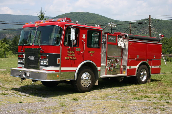 Selma, Virginia Engine 91, a 1990 Spartan/FMC with a 1500/1000.  Serial number 19198.