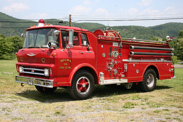 Antique for the Selma, VFC in Alleghany County - a 1964 Chevrolet 80 Spartan/Oren  750/750  sn 1998.  Retired in 1995.
