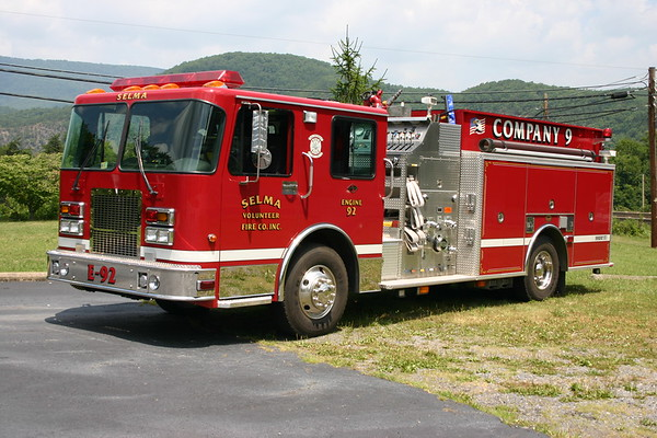 Engine 92 from Selma, Virginia, a 2003 Spartan/KME top mount 1250/1000 with GSO 5242 serial number.