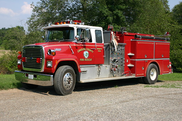 Originally Bowling Green, Virginia and then assigned to reserve at Sparta Station 4 in Caroline County.  1988 Ford L8000/Grumman  1000/1000.  Sn 18036.