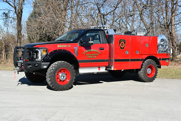Brush 15 from Stanardsville VFC in Greene County, Virginia.  A 2016 Ford F4504 x4 that was originally a demo truck from Buckstop Truckware which modifies trucks with lift kits, bumpers, etc.  Greenville purchased the demo and had Keplinger Repair in Winchester, Virginia build a brush truck .  300/300/5.  Keplinger Repair added 3/16 aluminum compartments to the existing flatbed and did 12 volt electrical and warning light package.  A Darley Fast Atttack skid unit was also added.  Painted by Thomas Unlimited Refinishing in Williamsport, Maryland.  Delivered to Stanardsville in January of 2019.