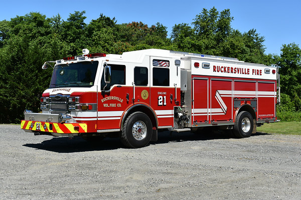 Engine 21 from Ruckersville, Virginia is a 2012 Pierce Impel PUC with a 1500/750.  Pierce job number 25295.