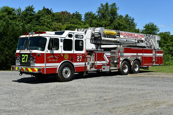 """Ruckersville, Virginia Truck 27 was purchased in May of 2017 from Waltham, Massachusetts where it ran as Ladder 1.  Ruckersville volunteers outfitted Truck 27 for their use, including the large green """"27"""" on the front grille.  2002 E-One Cyclone II 2000/300 95' with E-One serial number 124130.  Truck 27 replaced the 1979 Mack CF 75' Aerialscope."""