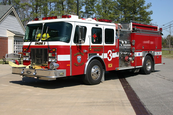 Engine 3 from the Eastern Hanover station was a 1996 E-One Cyclone, 1250/1000, sn- 16410.