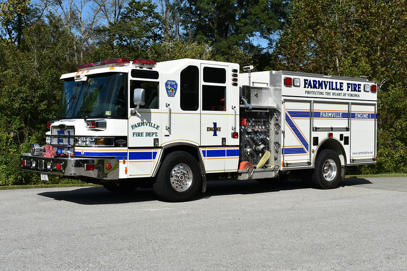 Farmville, Virginia (Prince Edward County) Engine 1 is a 2007 Pierce Quantum with a 1750/1000/30 and Pierce job number 18983.  It previously ran as Engine 1-2 for Farmville.
