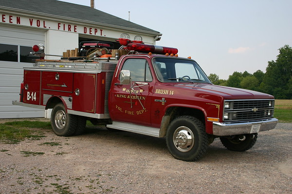 Upper King & Queen VFD in Newtown, Virginia - King & Queen County.  Brush 14 - 1982 Chevrolet Scottsdale 30/1983 E-One.  Sn 2960.  Unknown where this truck originally served.  Photographed in 2008.