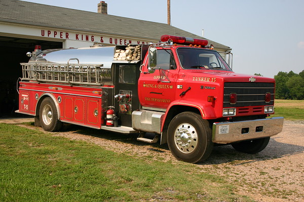 Tanker 15 - Upper King & Queen County - 1988 Chevrolet 70 Kodiak/S&S  1000/1800.  Originally delivered to Frog Level, Virginia and purchased by King & Queen in 2006.