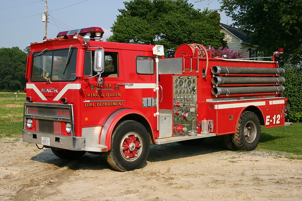 Photographed at a farm in Newtown, Virginia after being placed out of service.  Engine 12 is a 1978 Mack MB685FC-1182/Howe  1250/1000.  Mack sn 1182 and Howe sn 15588AV.  Originally delivered to Frog Level, Virginia.  Photographed in 2008 and for sale.