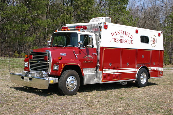 Squad 290 from Wakefield, Virginia is a 1988 Ford L8000/Marion.  Originally delivered to Maple Shade, NJ, Wakefield received it in 2000.  SN 36317.