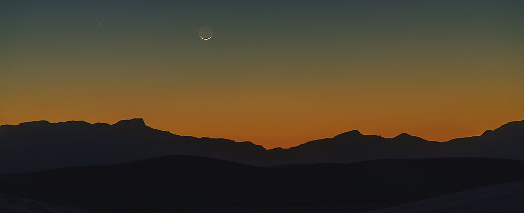 COMET PAN-STARRS AND CRESCENT MOON OVER WHITE SANDS NATIONAL MONUMENT