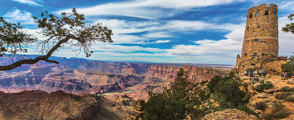 GRAND CANYON WITH DESERT VIEW WATCHTOWER, ARIZONA
