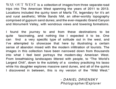 WAY OUT WEST Artist Statement by Daniel Driensky