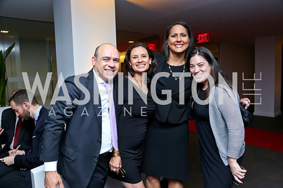 Raj and Maria Teresa Kumar, Karen Finney, TIME's Jay Newton-Small. Photo by Tony Powell. WHC The Global Beat. 1750 Penn. May 1, 2014