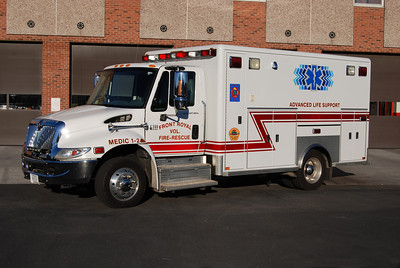 Medic 1-2 - 2003 International 4300 built by Horton.  Photographed 4/2013.   Replaced with the arrival of the newer Ford.