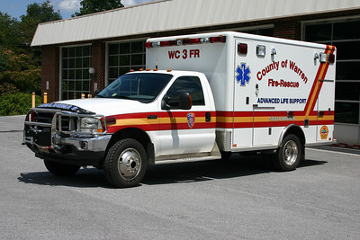 Ambulance 3 is a Warren County owned unit that runs from Station 3.  It is a 2004 Ford F-450/Horton.  Previously owned by South Warren.