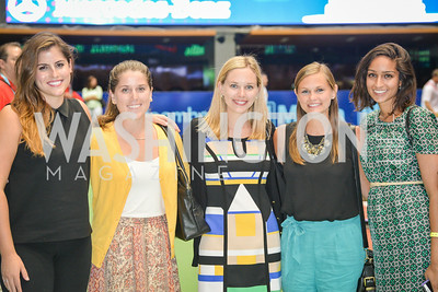 Stephanie Dorman,Erika Taylor, Mary-Morgan Limperis, Katherine Limperis, Devika Agarwal, Washington Kastles Congressional Charity Classic, GW Smith Center, Tuesday, July 15, 2014, Photo by Ben Droz.