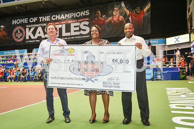 Erik Huey, Kaya Henderson, Kevin Hinton,  Washington Kastles Congressional Charity Classic, GW Smith Center, Tuesday, July 15, 2014, Photo by Ben Droz.
