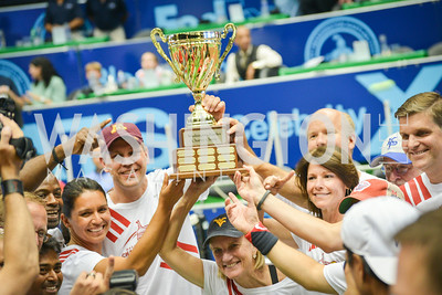 The Stripes took the trophy,  Washington Kastles Congressional Charity Classic, GW Smith Center, Tuesday, July 15, 2014, Photo by Ben Droz.