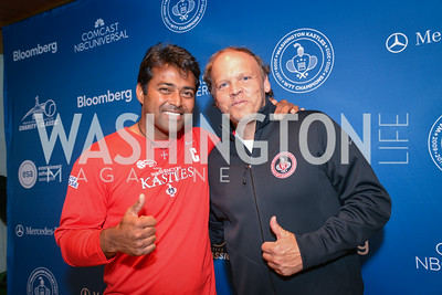 Leander Paes, Mark Ein,  Washington Kastles Congressional Charity Classic, GW Smith Center, Tuesday, July 15, 2014, Photo by Ben Droz.