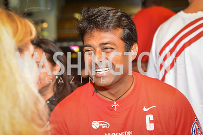 Leander Paes,  Washington Kastles Congressional Charity Classic, GW Smith Center, Tuesday, July 15, 2014, Photo by Ben Droz.