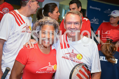 Congresswoman Joyce Beatty, Senator John Breaux, Washington Kastles Congressional Charity Classic, GW Smith Center, Tuesday, July 15, 2014, Photo by Ben Droz.
