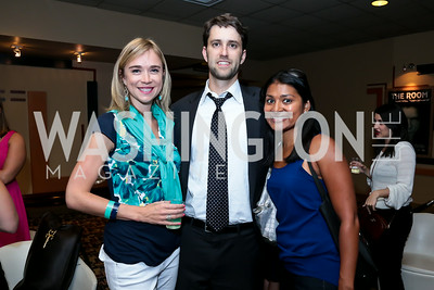 "Whitney Austin Gray, Ben Goldsmith, Sonia Nagda. Photo by Tony Powell. ""What If"" Screening. E Street Cinema. July 30, 2014"